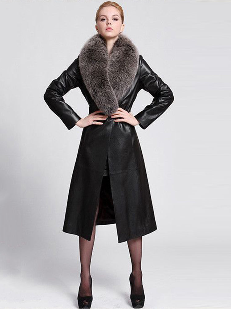Faux Fur Leather Slim overcoat