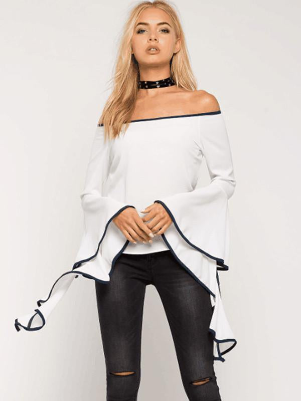 Sexy Solid Color Long Flared Sleeve Off-Shoulder T-Shirt