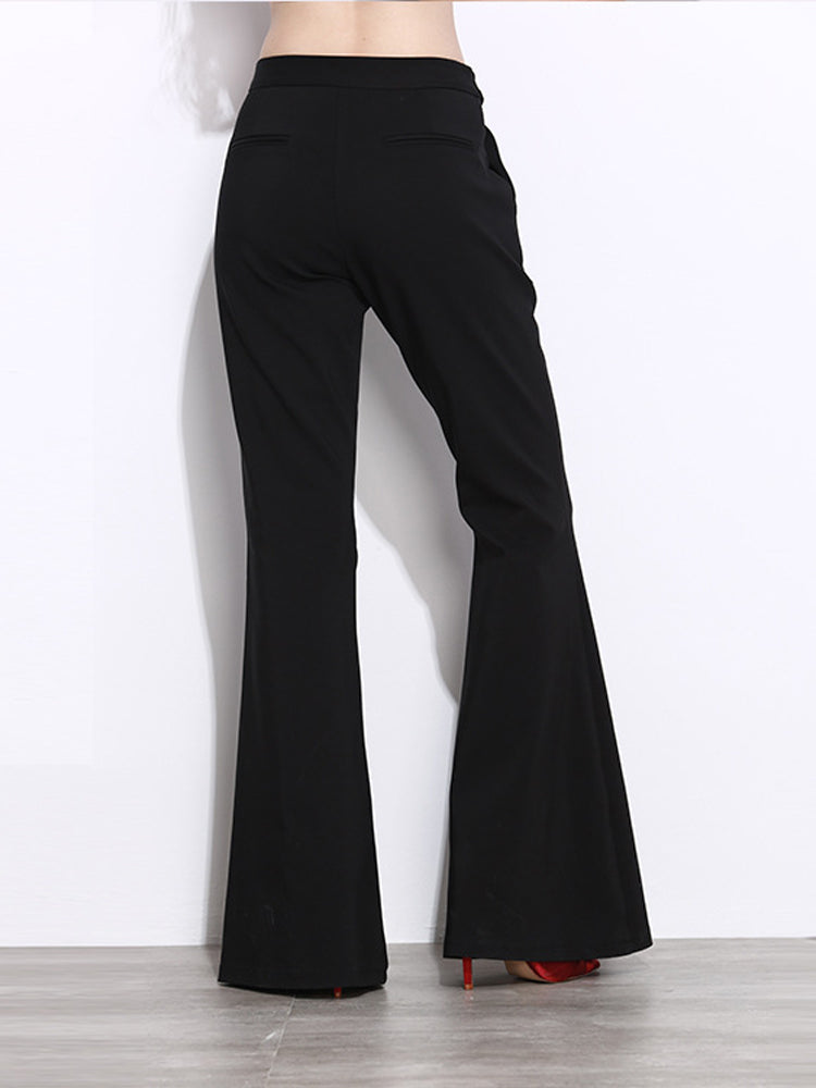Black High Waist Flared Pants - sparshine