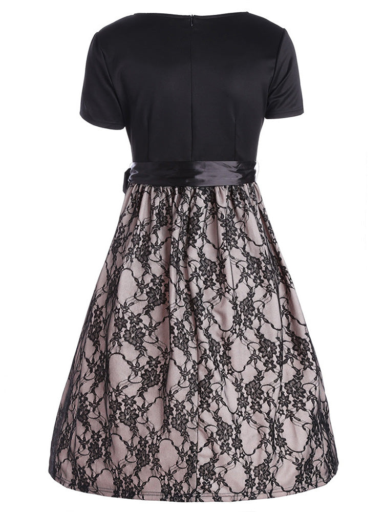 Lace stitching with belt A-line dress