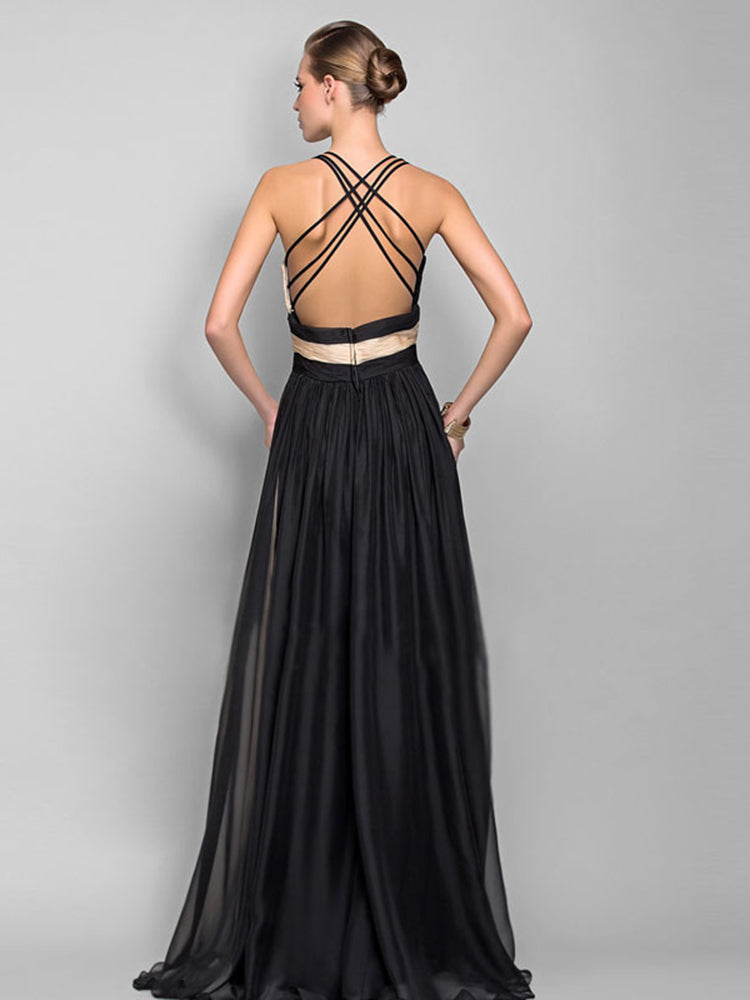 Sling Deep V Neck High Waist Maxi Evening Dress
