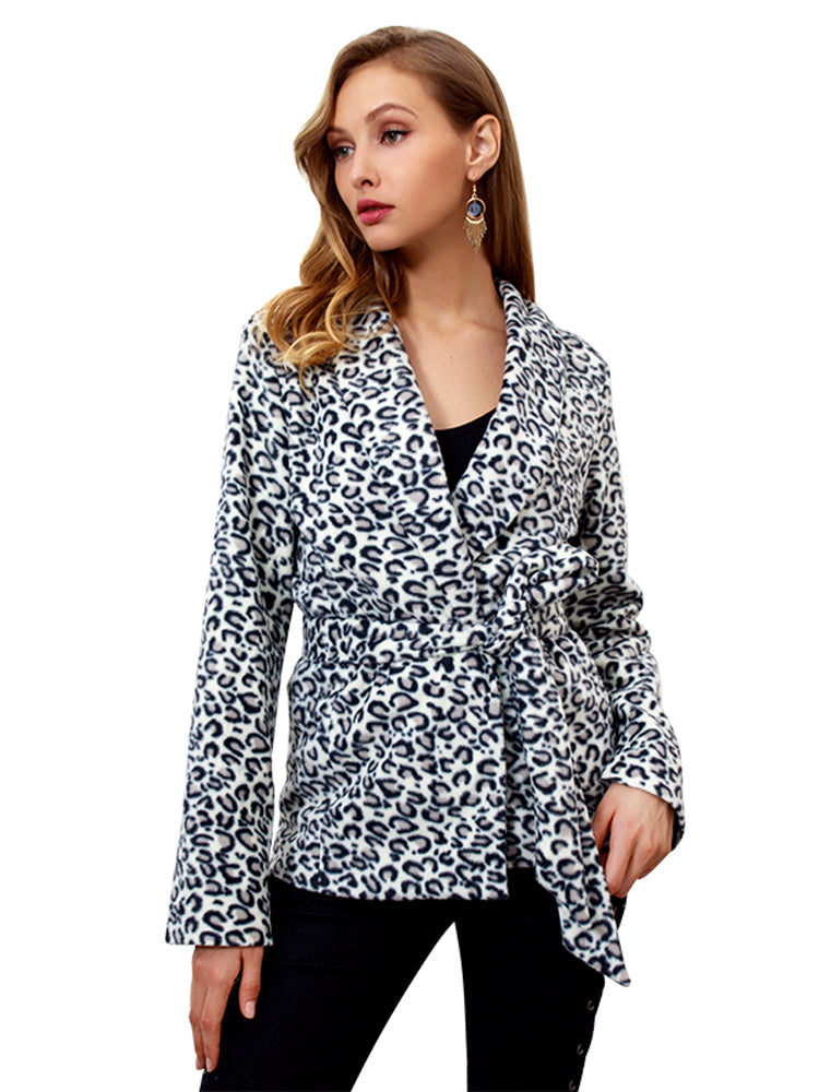 Fashion Leopard Print Long Sleeve Belt Jacket - sparshine
