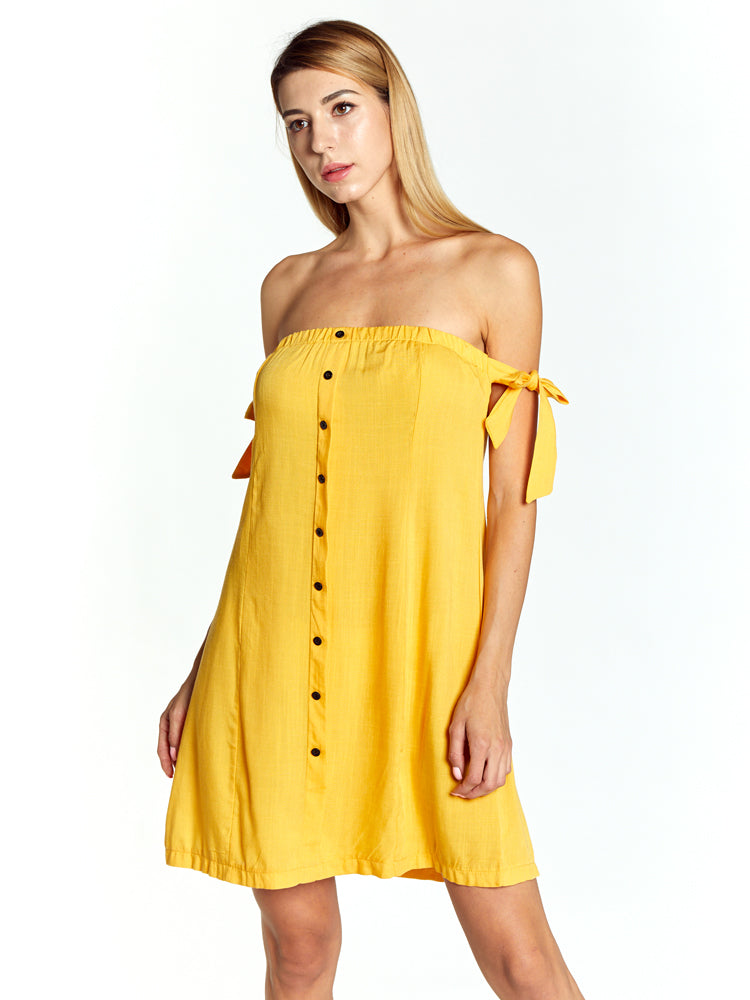 Red Off Shoulder Sleeveless Sexy Dresses Yellow