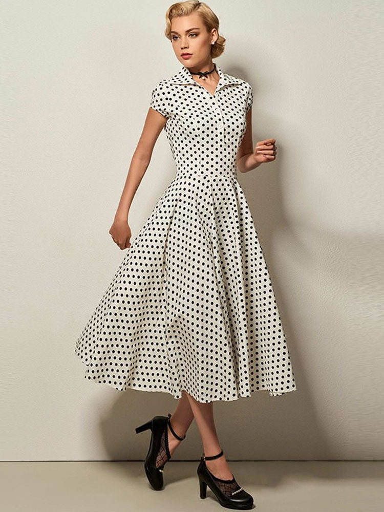 polka dots turn-down collar short sleeve A-line dress