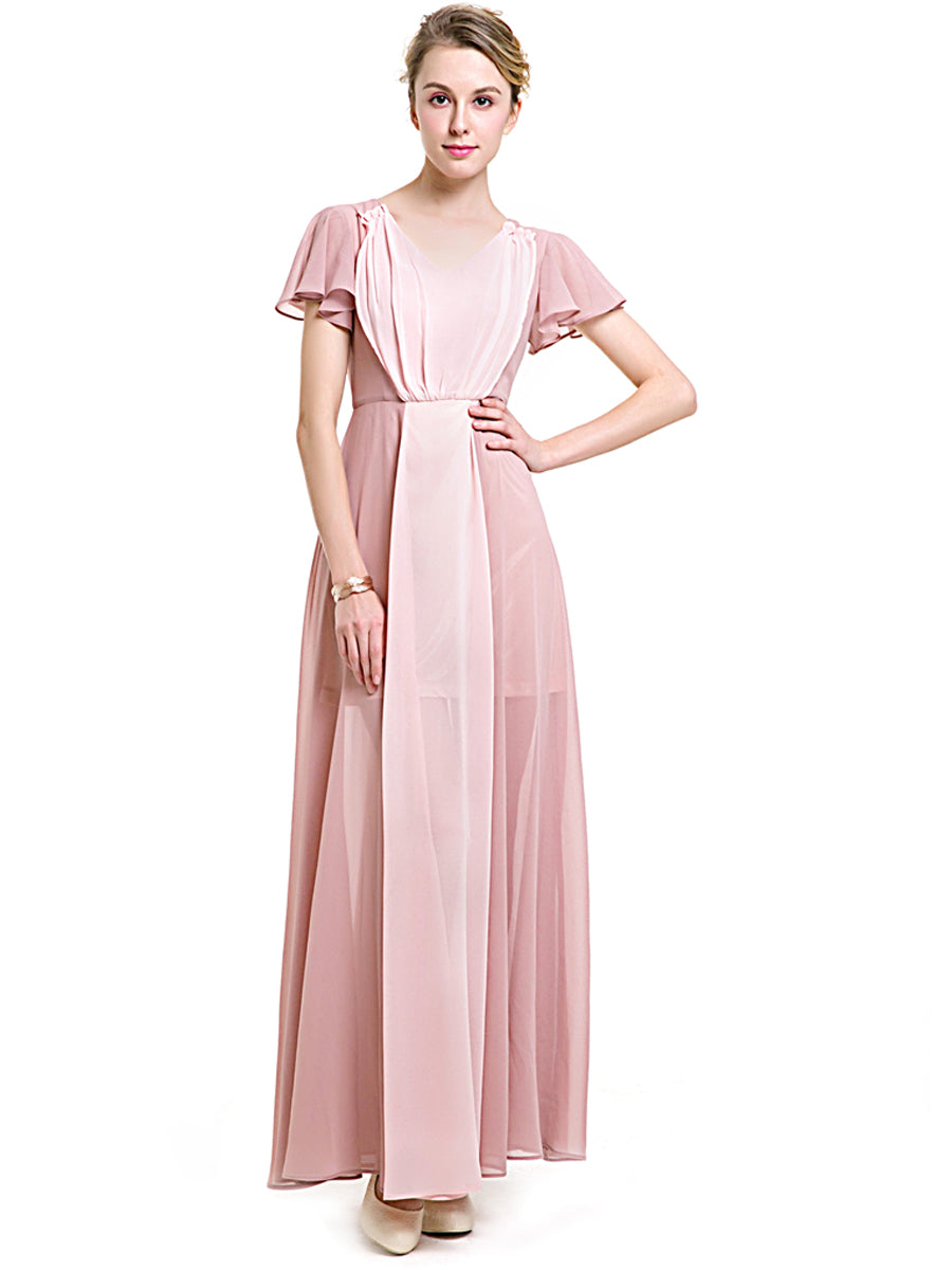 V-Neck Chiffon Formal Dress