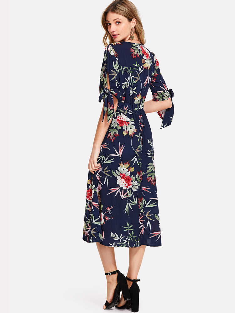 2018 New Tie Sleeve Wrap Split Front Long Floral Boho Dress
