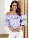 Blue Striped Off Sholder Front Button Ruffled Tops - sparshine