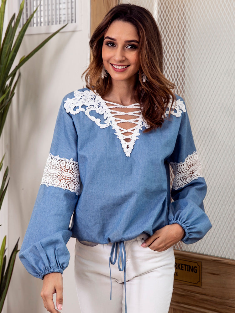 V-Neck Lace Patchwork Denim Blouse