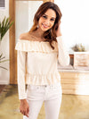 knited Off Shoulder Fold Hem Blouse