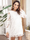 White Lace Embroidered Stitching Long Sleeve Dress