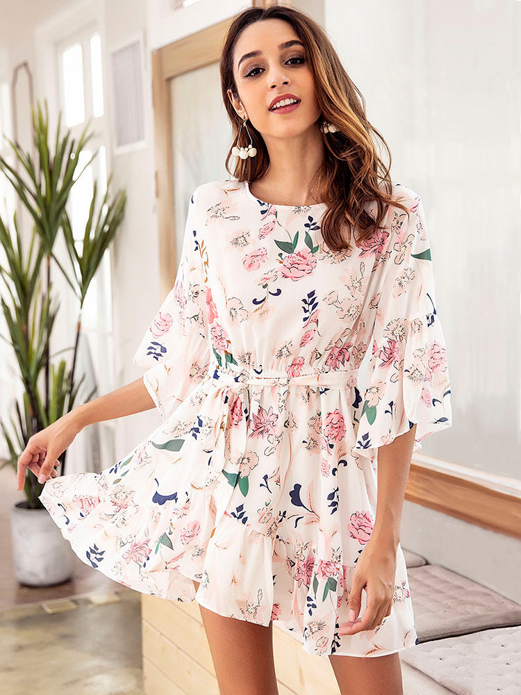 Round Neck Chiffon Print Dress