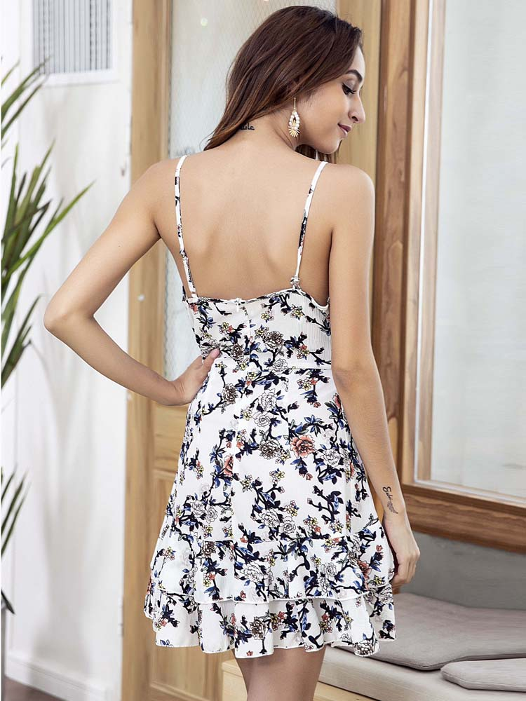 V-neck Ruffled Hem backless sexy Sling dress