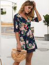 Elegant Half sleeve Floral Printed Hollow V Neck Summer Skater Dress