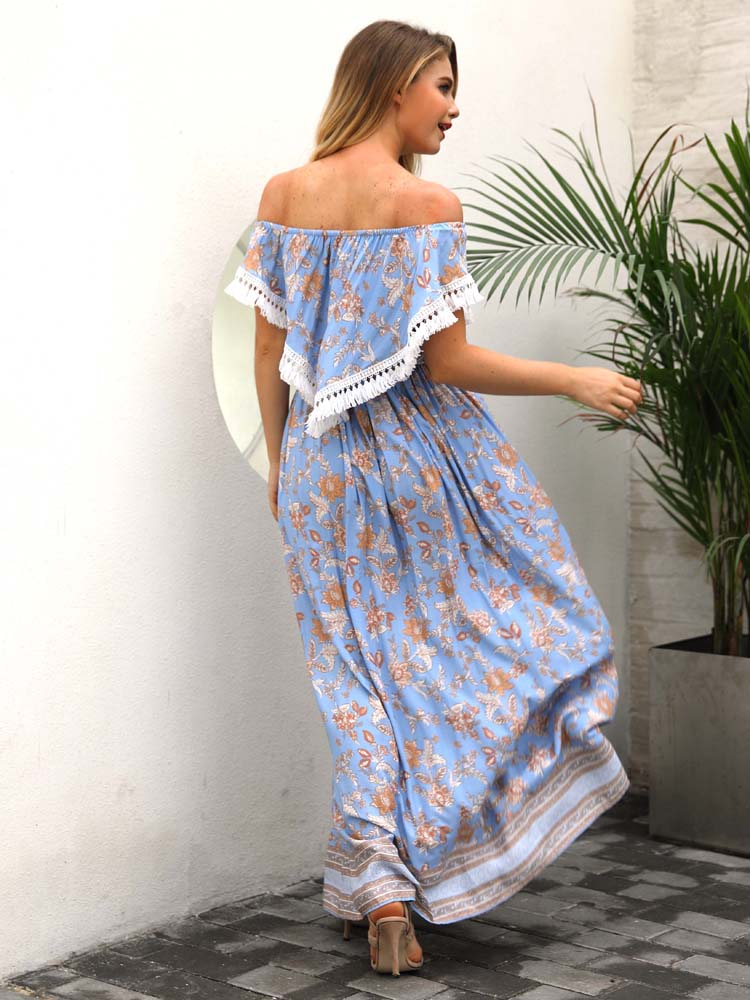 Bohemia Print Dress Women Off Shoulder Female Clothes - sparshine