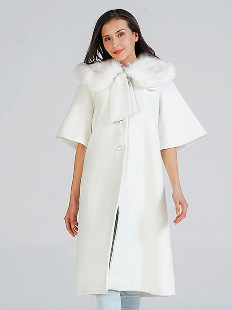 White Faux Fur Collar Trench Coat