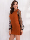Trendy Lace Sleeve Knitted Round Neck Hip Bodycon Dress