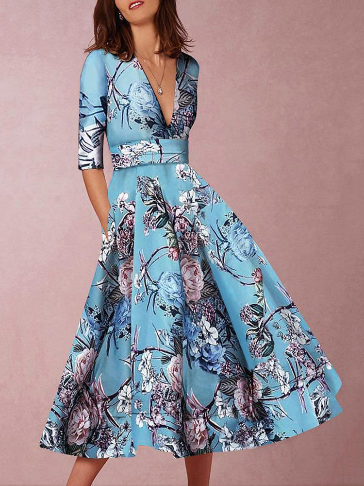 Deep V-Neck Flower Print Midi Dress - sparshine