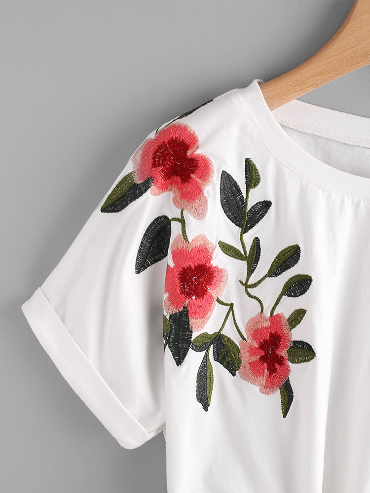 Fashion Rolled Cuff Embroidery Flower Crop T Shirt