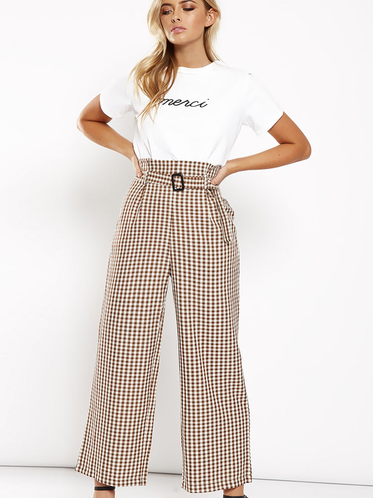 High Waist Printed Plaid Wide Pants