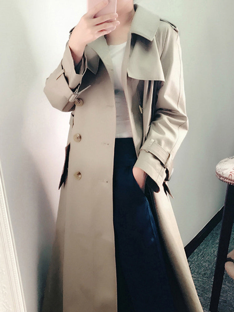 Double Breasted Lapel Neck Trench Coat
