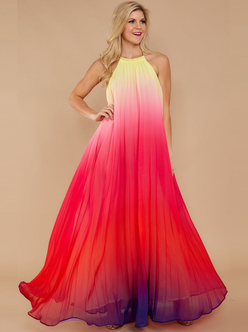Female Halter Colorful Long Dress