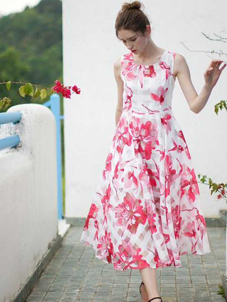 Fashion Tuxedo Printed Chiffon Dress - sparshine