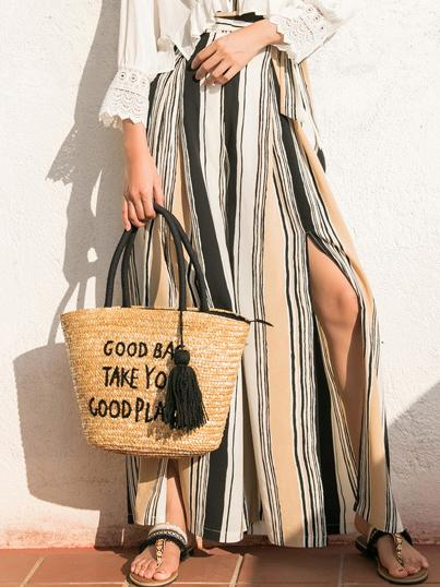 Stripes Split-side Wide Leg Beach Pants