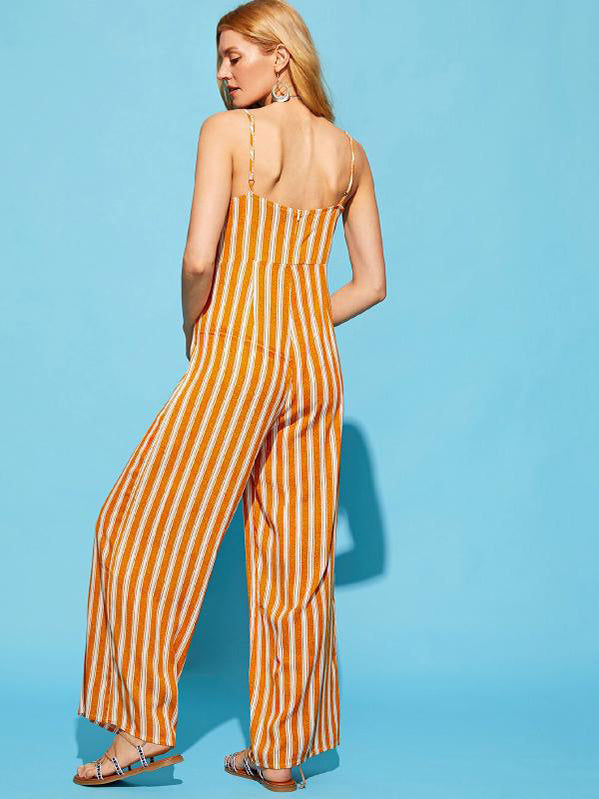 V Neck Sexy Waist Striped Jumpsuits