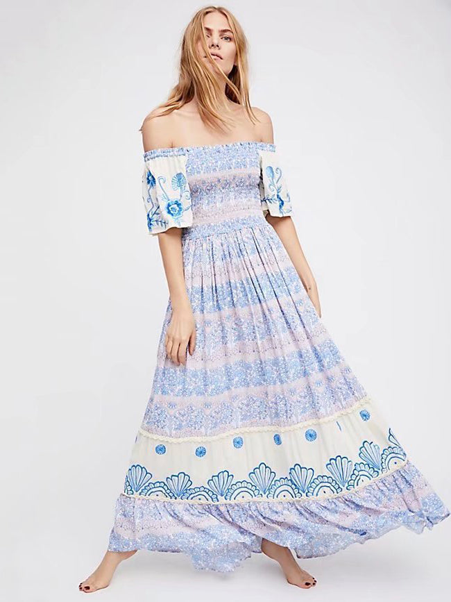 Bohemian Off Shoulder Dress - sparshine