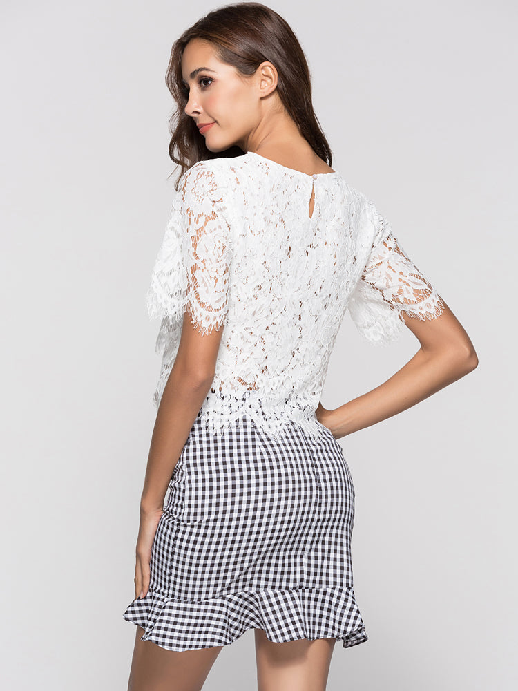 LaceWork Stiching Round Neck See-through Blouse