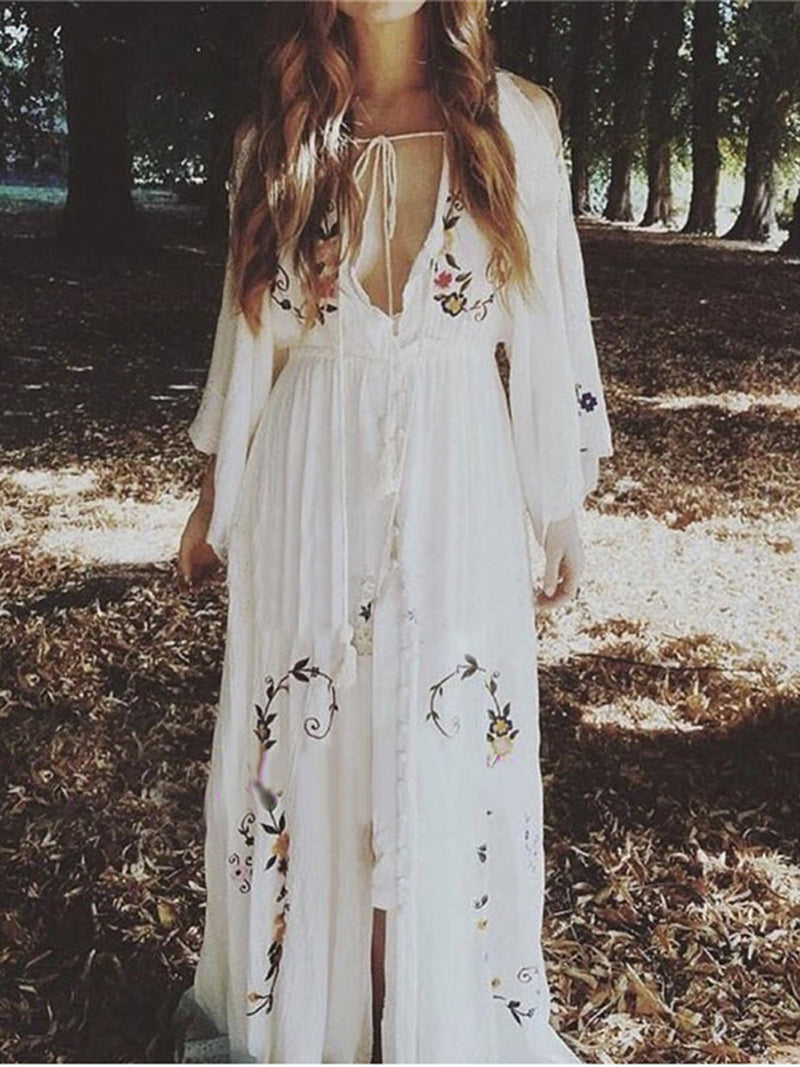 V-Neck Color Embroidered Court Style Long Dress