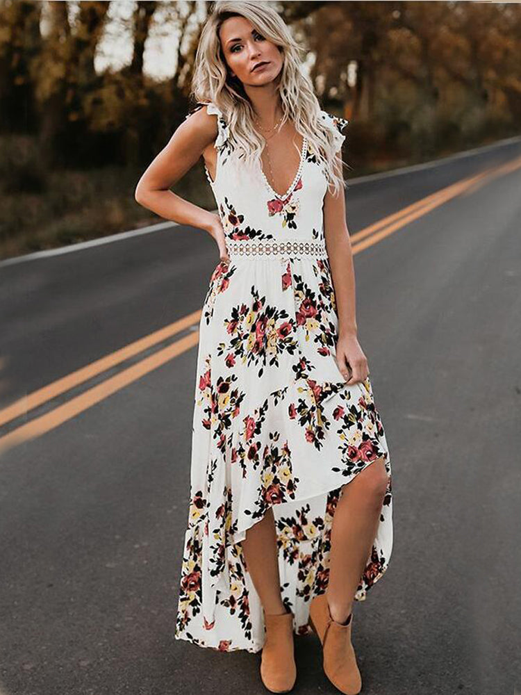 Cutout Backless Sweet Floral Print Dress - sparshine