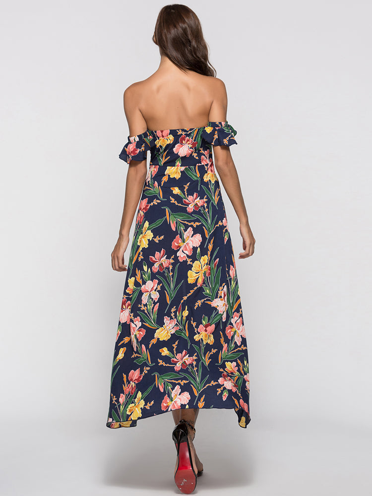 Floral Print Off Shoulder Split Front Dress Blue