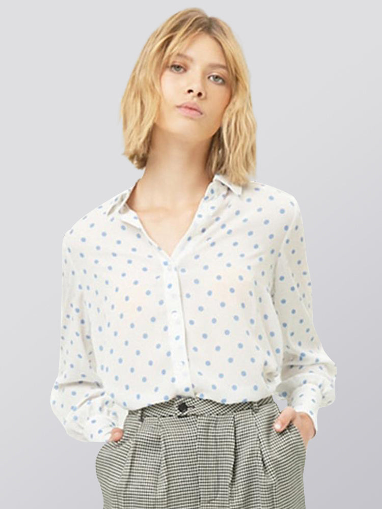 Loose Single-breasted Shirt Collar Long Sleeve Chiffon Shirt
