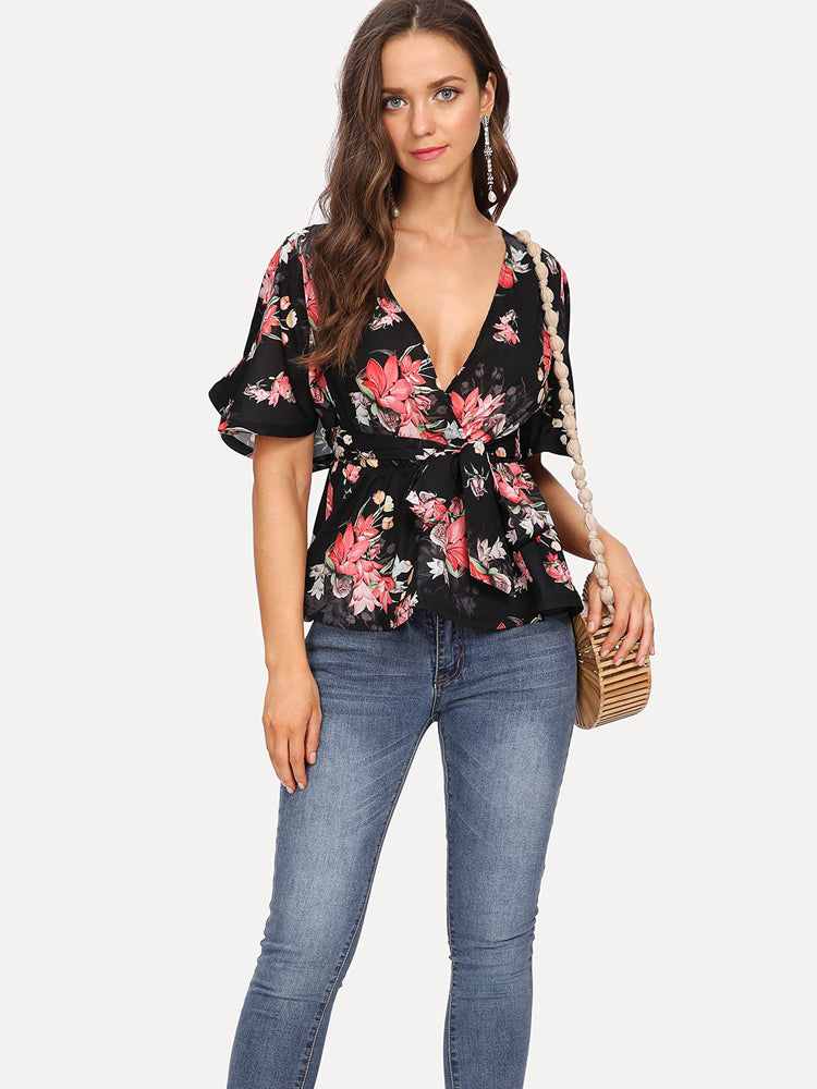 High Quality Flutter Sleeve Belted Surplice Floral Deep V Neck Blouse
