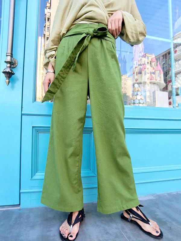 Green Wide Leg Bandage Pants