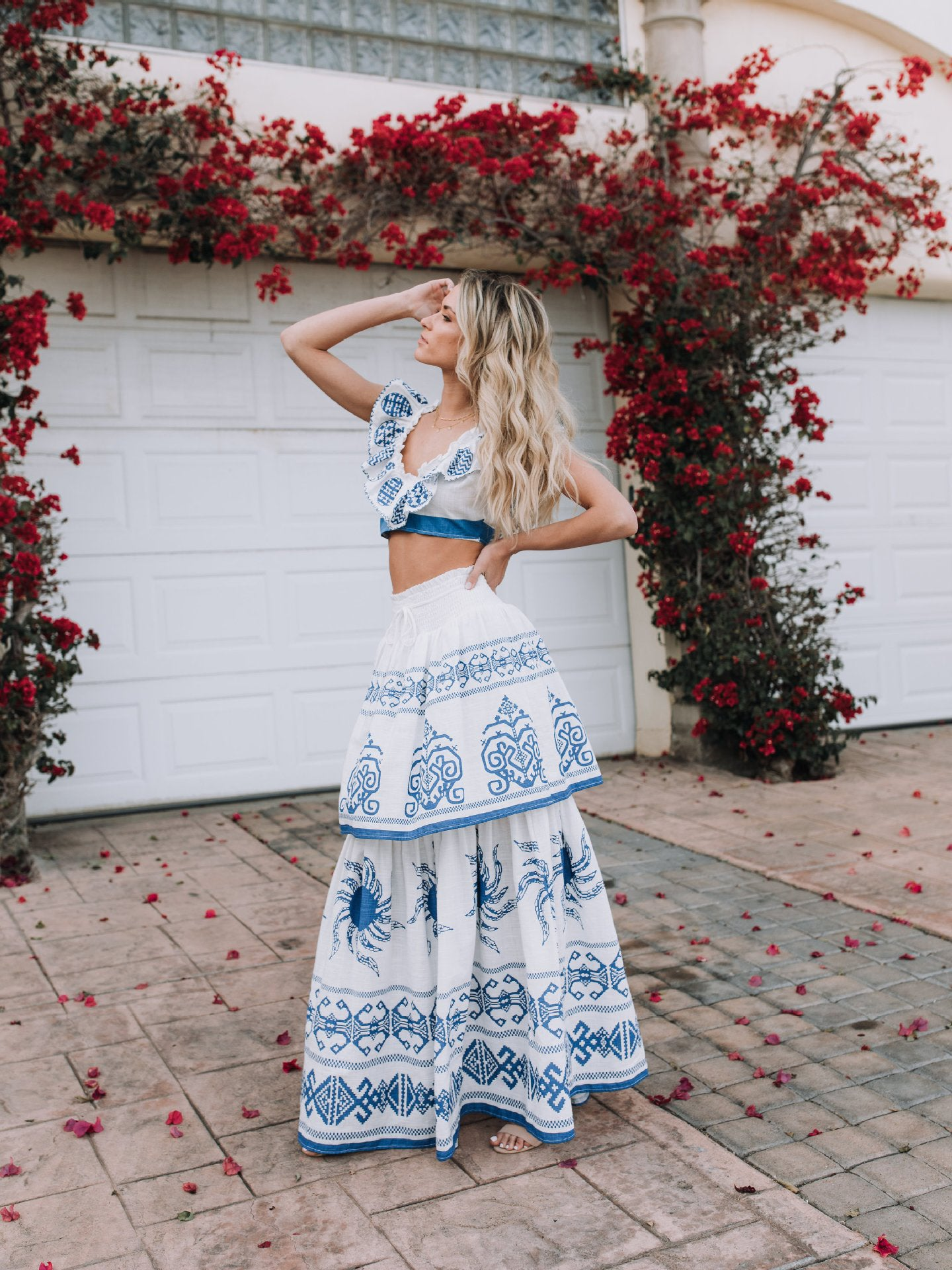 Print Ruffled Maxi Dress Set