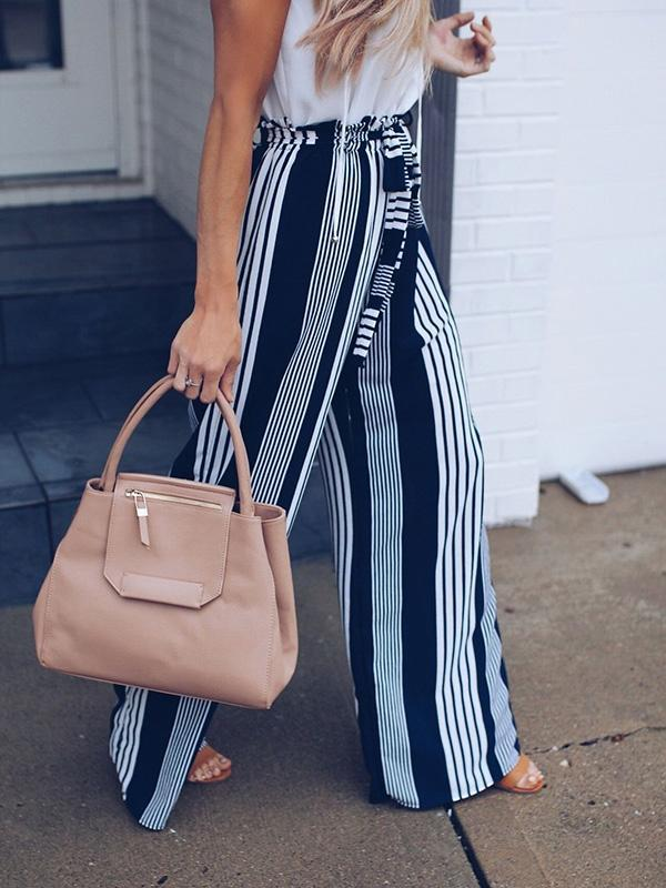 Fashion Striped Floral Belt Wide Leg Pants - sparshine