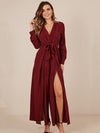 Solid Color V-Neck Split-Side Jumpsuit