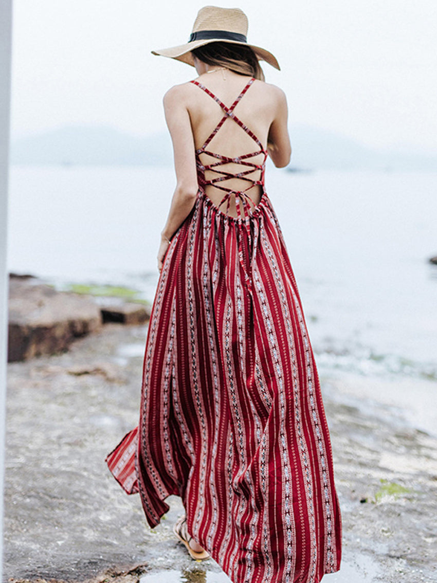 V-neck Sexy Strappy Bohemian Dress