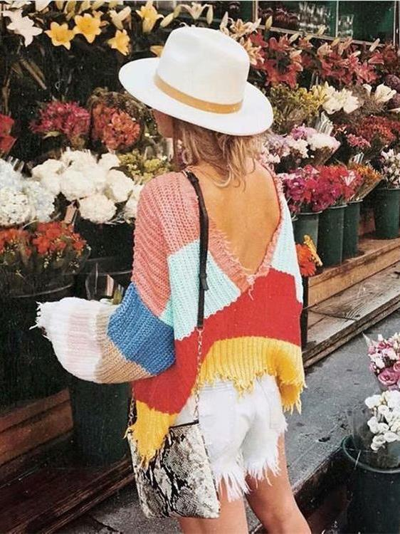 Fashion V-neck Backless Knitting Striped Rainbow Colored Sweater