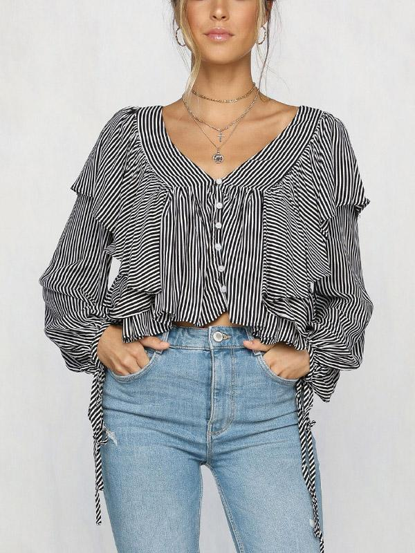 Chiffon V-neck Stripes Puff Sleeves Loose Blouses - sparshine