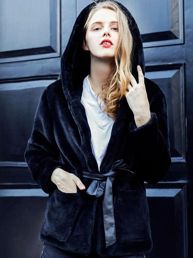 With Hooded Black Comfy Coat