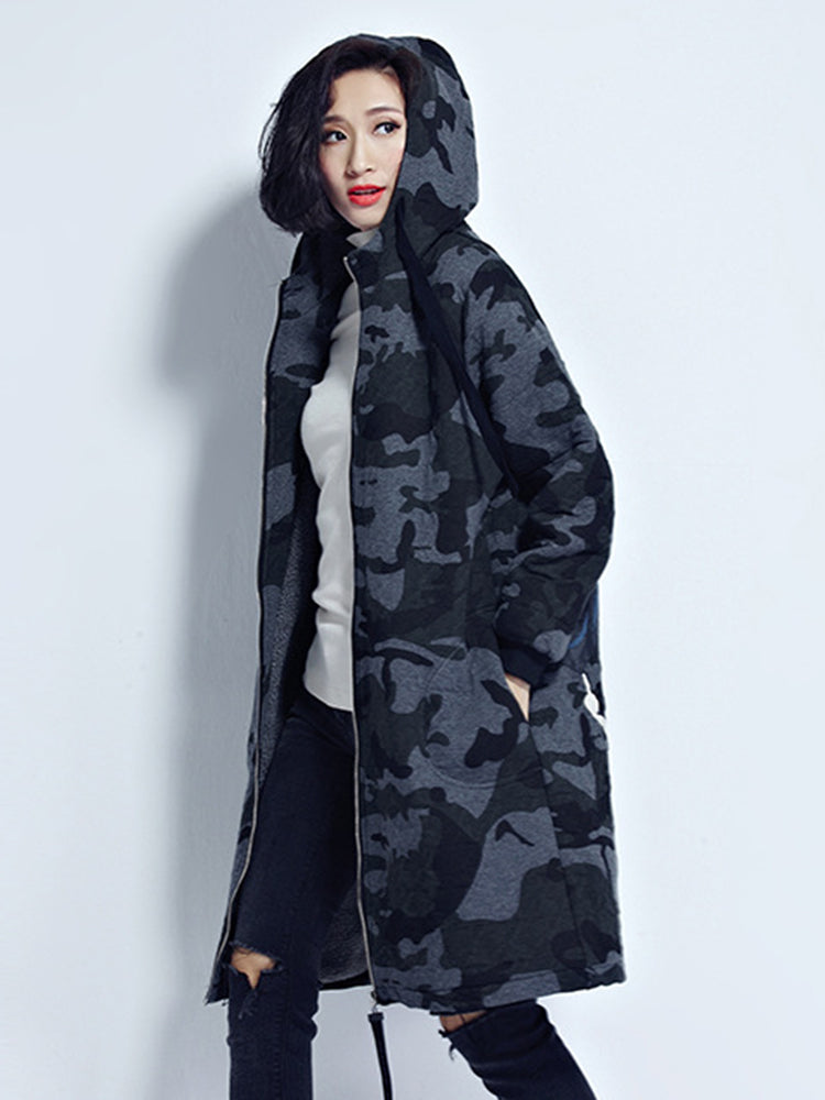 Zipper Military With Hooded Trench Coat
