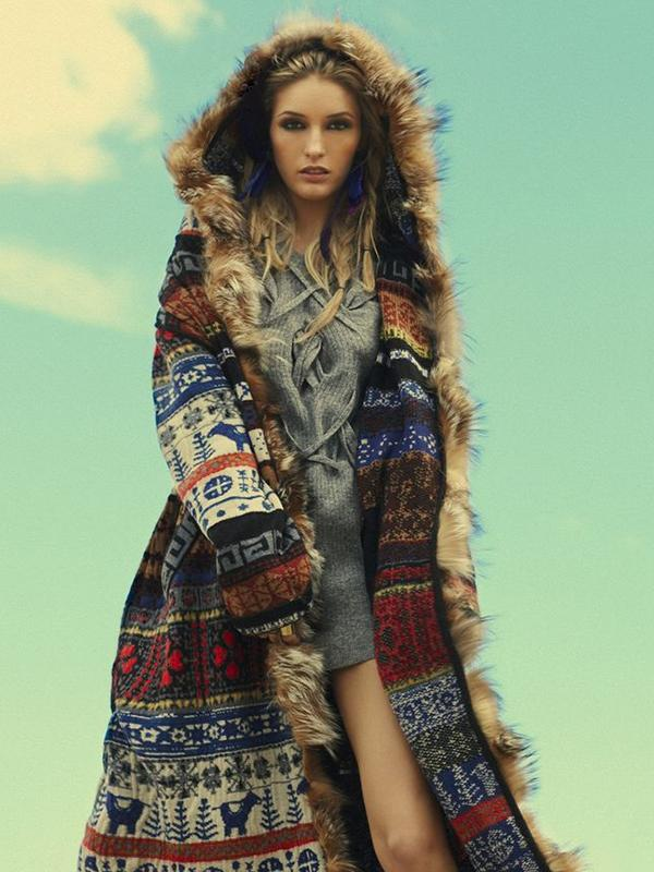 Printed Artificial Fur Hooded Thick Long Coats
