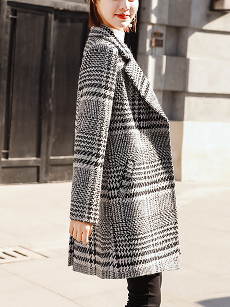 Grid Woolen Lapel Neck Trench Coat