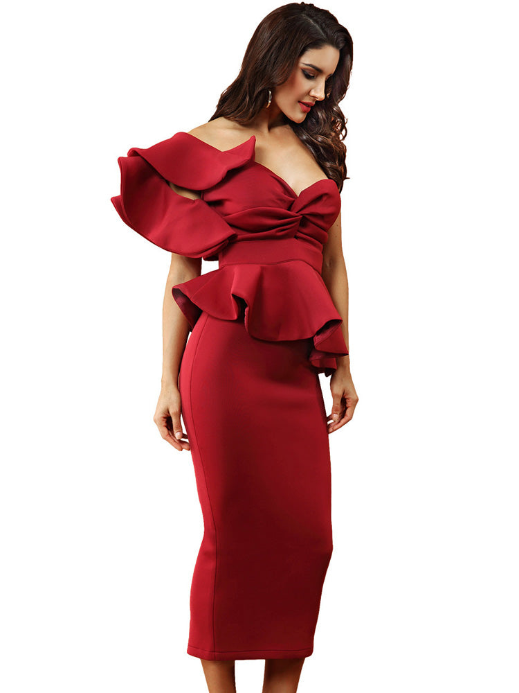 One Shoulder Sleeveless Ruffles  Backless Bodycon Dress