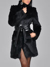 Gray Faux Fur Black Coat
