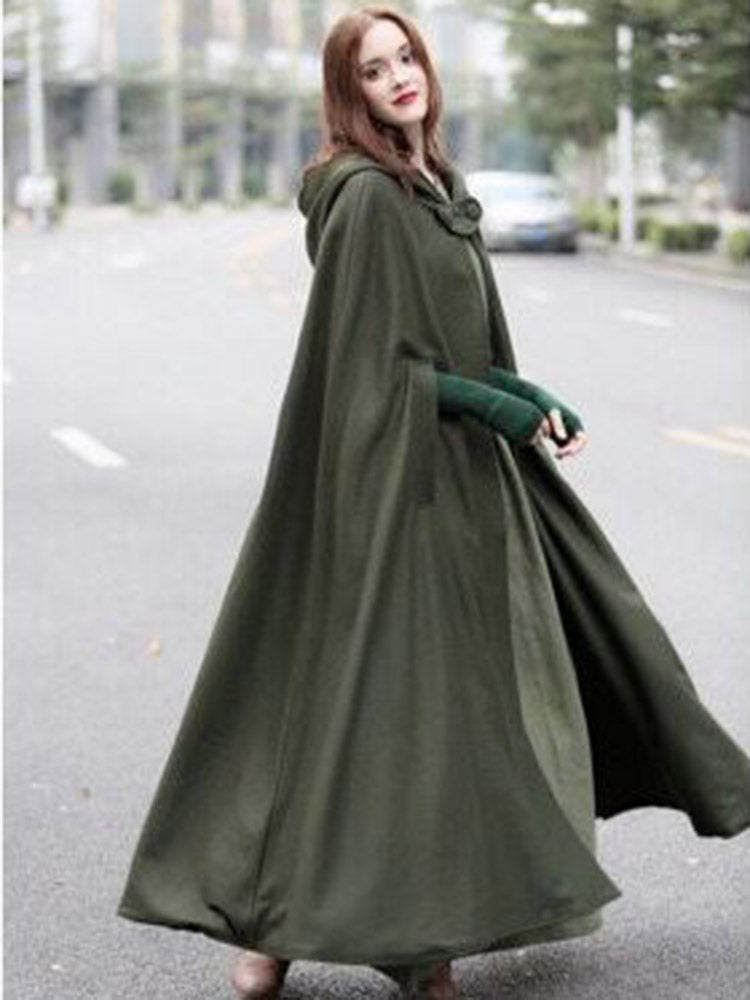 Plain With Hooded Maxi Trench Coat