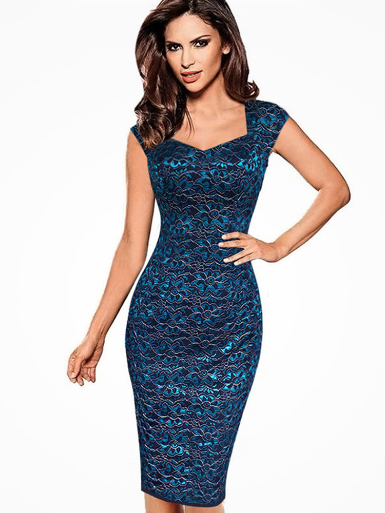 Lace printed Slim pencil bodycon dress